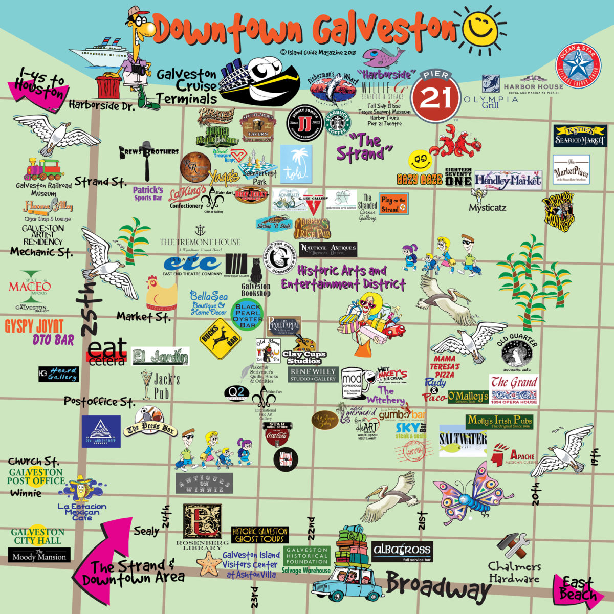 Galveston TX map live music festivals