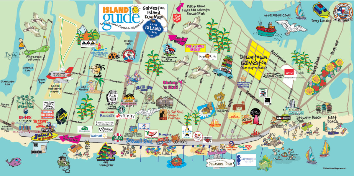 Map Of Galveston Texas Galveston, TX   Galveston Fun Maps   Galveston Island Guide
