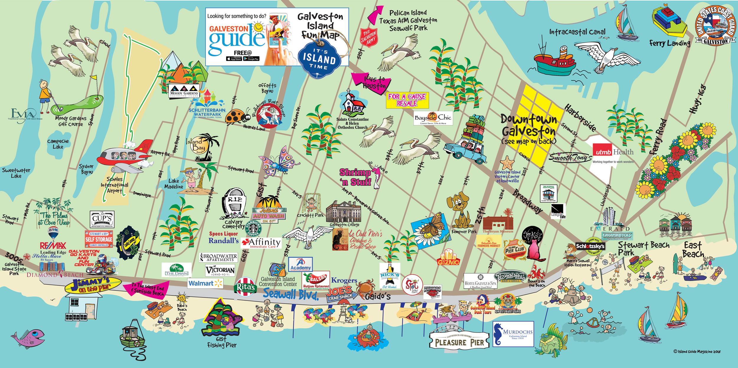 Galveston Map Of Texas.Galveston Tx Galveston Fun Maps Galveston Island Guide